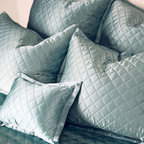 Quilted Pillow Sham - King - Chocolate - Put to rest any thoughts of ordinary:  A jewel of a bedding accent,  the Quilted Pillow Sham presents a diamond quilting pattern on 100% silk charmeuse. A soft lustre adds a whisper of elegance to bedscapes both modern and traditional, allowing for ease in blending with a range of textures, fabrics, and color palettes. The pillow sham backing is composed of a silk and cotton blend.