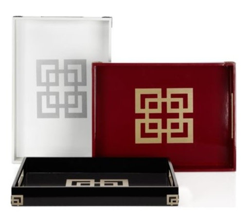 Z Gallerie - Ming Tray - Designed with a flair for the dynamic, our Ming Tray's add a layer of luxe to your spread. Boldly showcasing a center point graphic detail juxtaposed against the lacquer finish, metal fretwork applique details the exterior corners for added style. Featuring two convenient cutout handles for ease of use, a faux suede fabric underneath protects your tabletop. Available in Black, Crimson and White. Exclusive to Z Gallerie. For decorative use only. Sold separately.