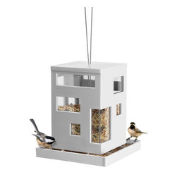 Umbra Bird Café Hanging Bird Feeder - Invite some birds to the party with this playful modern feeder.