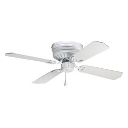 """Progress Lighting - Progress Lighting P2524-30 AirPro Hugger Four-Blade 42"""" Indoor Ceiling Fan White - Add economical functionality to your rooms with this 42"""" hugger fan from the AirPro collection. Featuring a powerful 3-speed reversible motor, you'll be able to easily circulate cool air, or force warm air down to suit your needs.Features:"""