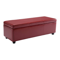 Simpli Home - Avalon Large Rectangular Red Faux Leather Storage Ottoman Bench - Clutter and mess everywhere.  What you need is an tasteful, well made storage solution.   The Avalon Large Rectangular Storage Ottoman Bench is made from durable Red Faux Leather and is the answer to all your needs.  This attractive ottoman is extra strong and durable and features a beautiful stiched leather exterior and large storage interior.  Whether you use this ottoman in your entryway, living room, family room, basement or bedroom, it will allow you to hide away all that mess.  This attractive ottoman comes in five colors - brown, black, cream, red and blue.