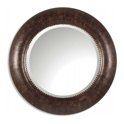 Uttermost - Leonzio Hand Finished Brown Leather Round Mirror - This mirror features distressed, hand finished brown leather with silver leaf metal accents. Mirror is beveled.  Matching console table is #26069.