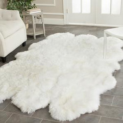 Safavieh - Safavieh Sheep Skin SHS211A 2' x 8' White Rug - Sheepskin shag rug is made from an authentic sheepskin hide and adds warm and personality to any room.
