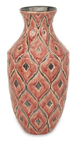 """IMAX - Azzura Large Vase - The large Azzura vase features a warm Moroccan inspired raised pattern with a soft red/orange glazed finish. Item Dimensions: (17.75""""h x 8.75""""w x 8.75"""")"""