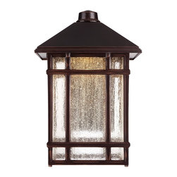 "Kathy Ireland - Arts and Crafts - Mission J du J Sierra Craftsman 15"" High LED Outdoor Light - Classic Americana styling from the Kathy Ireland Home J du J Sierra Craftsman lighting collection. This LED outdoor wall light features a warmly handsome Arts and Crafts inspired design. It has a rubbed bronze finish with clear seedy glass panels. Craftsman LED outdoor wall light. Rubbed bronze finish. Clear seedy glass. Includes integrated 6 watt LED. Light output is 450 lumens. Comparable to a 40 watt incandescent bulb. 3000K color temperature. 15"" high. 10"" wide. Extends 12 1/4"" from wall.   Craftsman LED outdoor wall light.  Rubbed bronze finish.  Clear seedy glass.  Includes integrated 6 watt LED.  Light output is 450 lumens.  California Title 24 compliant.  Comparable to a 40 watt incandescent bulb.  2700K color temperature.  Suitable for wet location use.  15"" high.  10"" wide.  Extends 12"" from wall.  Backplate is 5 1/2"" wide 9 3/4"" high."