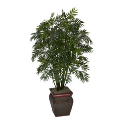 Nearly Natural - Mini Bamboo Palm with Decorative Vase - Bring the tropics to your home or office with this elegant mini bamboo palm silk plant. Featuring a bevy of stalks jutting skyward, and thousands of fronds just waiting for a tropical breeze, this palm will have you reaching for a Pina Colada every time you look at it. But we're not done   it comes in a beautiful decorative container that adds a touch of class. Perfect for any home or office that needs some sunshine and summer fun!