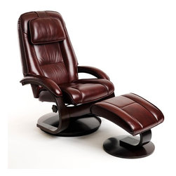"MAC MOTION CHAIRS - Oslo Collection Merlot Burgundy Top Grain Leather Swivel Recliner w/ Ottoman - This high quality Norwegian design chair with matching ottoman comes from our popular ""Oslo Collection"" and consists of selective hardwoods, bent arm frame complimented by wrap around seat and back cushion with adjustable headrest attached. Features include 360 degree parameter swivel for stable seating and adjustable reclining back which is personalized by one single handle to any position. Matched to contoured angled ottoman to complete the therapy seating of full body personalized comfort. All ""Oslo Collection"" models include ""MX-2"" memory foam, with 1"" over the top of the solid cored foam seating for support and long lasting comfort. This model is covered in ""Top-Grain"" leather everywhere you touch in a deep sauvage pattern ""Merlot"" color to match the ""Alpine"" deep wood finish frame. Complemented by the matching ottoman, this is one of our best sellers."