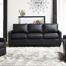 Diamond Sofa - Diamond Sofa Tanner Sofa Loveseat Swivel Chair Three Piece Set In Black - The Tanner Collection by Diamond Sofa provides chic  retro styling along with comfort and functional ability.  The Tanner Collection is more than just for looks  but also a comfortable set  that will soon become your favorite seat in the house.  The low profile styling with tufted outside panel design will help you to achieve that look you have always wanted.  Perfect scale for lofts  condos  apartments or office settings.  Finished in a supple Black Blended Leather  the Tanner provides an inviting and comforting area for relaxing after a taxing day.  The Tanner Sofa measures 82 inches wide by 32 inches deep by 37 inches high.  The Tanner Loveseat measures 57 inches wide by 32 inches deep by 37 inches high.  The Tanner Swivel Chair measures 32 inches wide by 34 inches deep by 34 inches high.