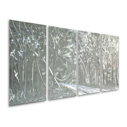 Pure Art - Forest in Gray Hand-Painted Aluminum Metal Wall Art Set of 4 - Lose yourself in the mysterious presence that you feel as you stare deeply into the detail of the Forest in Gray Hand-Painted Aluminum Metal Wall Art Set of 4. Amuse your senses with the smell of a fresh cool night that hungers for your attention in the calling of this beautiful metal wall art piece. Grace your bedroom with the hungry atmosphere that will engulf you when this art work is used in your decor. Echo your style in the family room of your home by hanging this amazing work of art behind that designer sofa. Made with top grade aluminum material and handcrafted with the use of special colors, it is a very appealing piece that sticks out with its genuine glow. Easy to hang and clean.