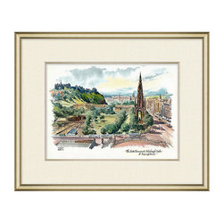Frontgate - Scott Monument - Reproduction of an original watercolor illustration. Autographed by original artist. Silver leaf frame with gold interior fillet. Off-white linen textured mat. Arrives ready to hang. Our Scott Monument Framed Wall Art is an exquisite giclee reproduction of an original watercolor illustration by artist Ken Bromley. Cheerful and vibrant, it arrives beautifully framed and ready to hang. . . . . .