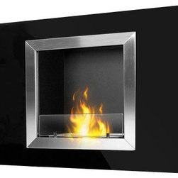 PureFlame - Calida Modern Recessed (Build-In) Ethanol Fireplace - The Calida ethanol fireplace by PureFlame is a sure way to rejuvenate an existing space and update the modernity of any room. Designed to be recessed into the wall with minor construction, this fireplace may also be mounted directly onto the wall using the enclosed hardware. This fireplace offers an eco-friendly flame that is odorless. Bio Ethanol, an alternative fuel source produced from plants, only emits water vapor and carbon dioxide into the air. Although ethanol fireplaces aren't intended for use as a primary heat source, the Calida model produces enough heat to alter the ambient temperature in a small space. For aesthetic appeal and safety, this fireplace is offered with a pane of tempered glass that is positioned in front of the flame.