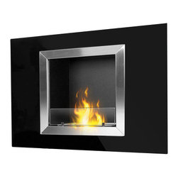 PureFlame - Calida Modern Ventless Recessed (Build-In) Ethanol Fireplace - The Calida ethanol fireplace by PureFlame is a sure way to rejuvenate an existing space and update the modernity of any room. Designed to be recessed into the wall with minor construction, this fireplace may also be mounted directly onto the wall using the enclosed hardware. This fireplace offers an eco-friendly flame that is odorless. Bio Ethanol, an alternative fuel source produced from plants, only emits water vapor and carbon dioxide into the air. Although ethanol fireplaces aren't intended for use as a primary heat source, the Calida model produces enough heat to alter the ambient temperature in a small space. For aesthetic appeal and safety, this fireplace is offered with a pane of tempered glass that is positioned in front of the flame.