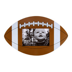 "Trend Lab - Photo Frame - Football - Complement any room with this stylish Football Photo Frame by Trend Lab. The football shaped frame features a brown body with white and black detail. Frame measures 13"" x 8"" and holds a 4"" x 6"" photo. Mounting hardware is attached to the back for easy hanging."