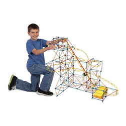 Knex - K'NEX Thrill Rides Hyperspeed Hangtime Roller Coaster Building Set Multicolor - - Shop for Building Sets from Hayneedle.com! Blast off faster than the speed of light with the K'NEX Thrill Rides Hyperspeed Hangtime Roller Coaster Building Set. With over 600 pieces you'll be able to build a coaster with more than 18 feet of track that can be built more than 2.5 feet high! The exclusive inverted blaster motor launches your hanging coaster car on an out-of-this-world adventure all around your track. Requires three C batteries (not included) and is recommended for ages nine and up. About K'NEXK'NEX builds worlds kids love! In 1990 K'NEX founder Joel Glickman came up with the idea for a rod and connector building system now known as K'NEX. In 1992 his dreams became reality and a company was born. K'NEX added wheels pulleys and gears so kids could build vehicles roller coasters and more. Easy-to-follow color-coded instructions make it easy for every builder to bring their model to life. The K'NEX family of brands has expanded to include K'NEX building sets K'NEX Thrill Rides K'NEX Education: America's STEM building solution Lincoln Logs Tinkertoy NASCAR Angry Birds Mario Kart Wii Mario Kart 7 Super Mario PacMan and more.