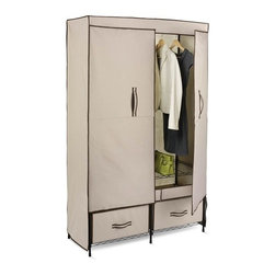"Double-Door Wardrobe With 2 Drawers - Honey-Can-Do WRD-01274 43"" Wide Double Door Storage Closet, Khaki.  This full-feature wardrobe measures 43-inches wide and works great for extra hanging space or seasonal storage. The steel hanging rod will hold all of your dresses, shirts, pants and other items giving you an excuse to shop for more!  The breathable, lightweight fabric completely surrounds your garments, protecting them from dust and debris, and offers the convenience of double doors for easy access. An internal shelf works well for shoes or bags and the integrated storage drawers are perfect for folded items and accessories."