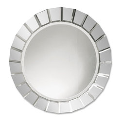 Uttermost - Fortune Frameless Round Mirror - A fun house feel with plenty of sleek style. You'll be enraptured by this frameless round mirror, accented by many small beveled mirrors creating a web-like effect of your reflection.