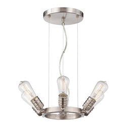 Minka-Lavery - Downtown Edison Brushed Nickel Six Light Pendant - - Downtown Edison Six Light Chandelier in Brushed Nickel Finish  - Bulb included: Yes  - Adjustable to 120H max Minka-Lavery - 4135-84