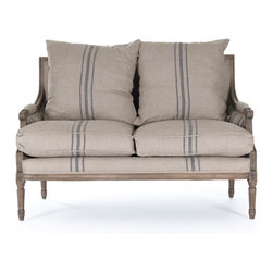 Zentique - Louis Settee, Blue Stripes/Reclaimed Oak - An elegant settee never goes out of style. It's a chic alternative to a love seat or side chair and it's perfect for a living room or master bedroom. Pick from two classic fabrics and sit back in comfort and style.
