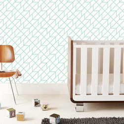 "The Lovely Wall Co - 24"" x 48"" Lines upon lines Removable wall paper tile - Wall Paper, Mint - Lines upon lines Removable Wall Paper"