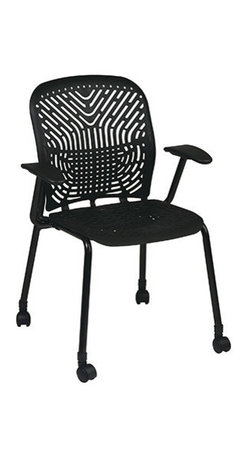 Office Star - Space Seating 801 Series Deluxe SpaceFlex Raven Seat & Back Visitors Chair - Bla - Deluxe SpaceFlex Raven Seat & Back Visitors Chair - Black Frame & Arms - Casters belongs to 801 Series Collection by Space Seating Deluxe SpaceFlex Raven Seat and Back Visitors Chair with Black Frame, Arms and Casters (2-Pack) Office Chair (2)