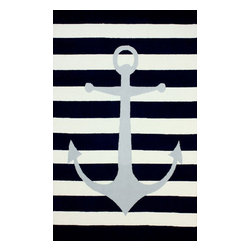 """nuLOOM - Solid & Striped 7' 6""""x9' 6"""" Blue Hand Hooked Area Rug Anchor Stri - Made from the finest materials in the world and with the uttermost care, our rugs are a great addition to your home."""