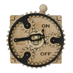 Planetary Gear Switch Plate, Natural Wood - This unique light switch plate cover is made from plywood and brass gears, and has a one-of-a-kind on/off switch.