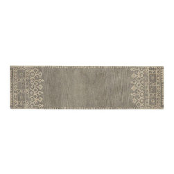 "Desa Rug, Gray, 2'6"" x 9' - I adore this classic runner from Pottery Barn. The interesting details on the sides are just gorgeous."