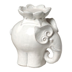 "Kathy Kuo Home - White Ceramic Elephant Candle Stand- 9""H - A symbol of dignity and power, the elephant brings good vibes. And this curvy, elegant creature also serves a purpose, lofting a candle on its back to warm your world with a soft, romantic glow."