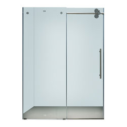 Vigo - Vigo 72-inch Frameless Shower door 3/8in.  Frosted Glass Chrome Hardware Right - This Vigo frosted shower enclosure gives you a privacy level that enhances your shower experience.