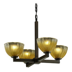 Justice Design - Modular 4-Light Chandelier - Gold with Clear Rim/Nickel - Recommend the use of clear bulbs with Clear Textured (CLRT) glass shades. For Bowl w/ Rippled Rim shade (-36), use 60W A-15 incandescent bulb.