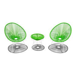 Harmonia Living - Acapulco 3 Piece Retro Patio Chat Set, Lime Green - The Acapulco 3 Piece Retro Patio Chat Set by Harmonia Living in Lime Green (SKU HL-ACA-3CS-LG-WH) blends mid-century design with modern funk to create a new standard of comfort and style for your patio. The collection is inspired by woven furniture that was incredibly popular in Central America in the 1950s and '60s, creating seating that is supportive and breathable. This makes the Acapulco Lounge Chair ideal for unwinding even in the warmest climates. The chair is designed to center your weight between its triangular legs, providing a stable and comfortable resting position that seems to defy the outrageous geometry of the collection. Beyond its comfortable design, the lounge chair is constructed with a powder-coated steel frame, making it incredibly durable and weather-resistant. The frame is wrapped in a supportive Polyethylene cord, giving the collection its distinctive look. The chair is available in 4 funky colors that are sure to brighten up your patio, including Atomic Tangerine, Candy Apple Red, Glacier Blue, Hot Pink, Jet Black, Lime Green, and White Lightning