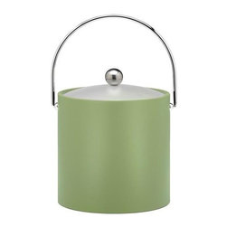 Kraftware - Ice Bucket in Mist Green - Chromed bale handle and flat knob. Frosted vinyl lid. Made in USA. 9 in. Dia. x 9 in. H (3 lbs.)Our fun colors collection features the hottest colors for the season, to provide you with great entertaining items, with up to the minute styling. Great for indoor and outdoor entertaining.