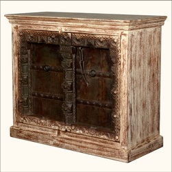 """Gothic Antique White & Walnut Reclaimed Wood Buffet Cabinet - Bring a sense of history home with our Reclaimed Wood Gothic Buffet. This 46"""" long sideboard has a light colored, antique white cabinet and two dynamic walnut colored doors."""