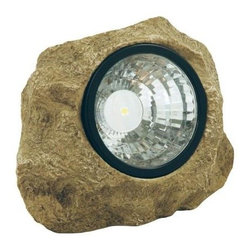 Moonrays - Moonrays Outdoor Lighting. Outdoor Polyresin Solar Powered LED Rock Spotlight wi - Shop for Lighting & Fans at The Home Depot. The Moonrays Outdoor Solar Powered LED Rock Spotlight with Hidden Key Compartment adds a decorative touch to your pathway, patio or garden and provides a variety of lighting options for landscape design, all while taking advantage of solar energy. Made of polyresin with a plastic lens, this accent will blend in to your landscaping by day and illuminates your yard at night. The brown rock spotlight emits 6-lumens from the .35-watt LED and provides 120-degree beam angle of white LED light. The rock also has a built-in hidden compartment, making it perfect storage for your shed or house key. The LED bulb will never need to be replaced and will remain cool to the touch at all times, providing safe lighting that will not burn or heat-up. Moonrays solar lights gather energy from the sun during the day, and then automatically come on at dusk to provide a pattern of light exactly where you want it. The (1) rechargeable battery (included) charges using the sun s rays and advanced Moonrays solar technology to provide light for up to 6-hours on a full battery charge. Let Moonrays help make your outdoor settings as livable, enjoyable and charming as any room in your home. The Moonrays Outdoor Solar Powered LED Rock Spotlight with Hidden Key Compartment comes with a 1-year limited warranty provided to the original purchaser, which protects this product from manufacturing defects in material, assembly and workmanship.