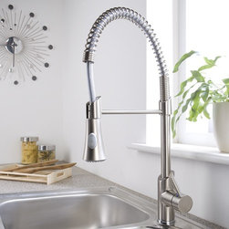Brushed Nickel Plated Pull-Down Sprayer Kitchen Faucet - Hudson Reed