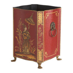 Prince Tole Wastebasket - Wisteria's home décor accessories collection includes several different assortments of containers & wastebaskets including this red prince tole iron wastebasket.