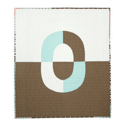 Modern Baby Quilt Half & Half Herb by B Perrino Quilts - This neutral quilt would be perfect in a modern nursery, especially if your little guy's name starts with an O.