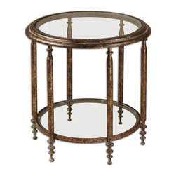 Uttermost - Leilani Round Accent Table - Accent the positive and elevate the everyday with this elegant table. Its thin, delicately gold-distressed legs and glass top and shelf leave a very small footprint, so even if you have a small space, it won't crowd the room.