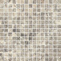 """Rome Collection Antique Rome - Like walking the ancient streets of Italy, the timeless beauty of Antique Rome provides tumbled edges, while Imperial Rome provides a modern take on a classic stone. This high-tech porcelain collection offers four modular sizes including 24""""X48"""" in addition to trim and mosaic pieces."""
