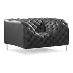 ZUO MODERN - Providence Arm Chair Black - Like a grand piece of art, the Providence set dramatically changes any room. The set is wrapped and tufted in a leatherette with chrome legs.