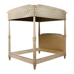 Louis XVI Style Four Post Canopy Bed - Custom made to any dimensions, stain or wood species and specifications. Can be made with footboard.  Can be made without the posts and canopy. Headboard inset can be upholstered fabrics or leather, tufted, wood panel or specialty veneers.
