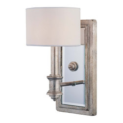 Savoy House - Caracas Sconce - This remarkable wall sconce lets you meld the intentionally weathered with the crisp look of white. You can enjoy the aged look of the mirrored mount and base, contrasted by the modern look of the circular shade.