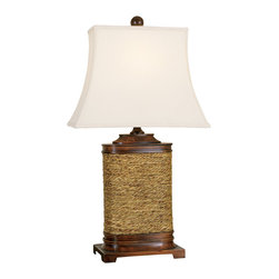 "Welcome Home Accents - Wood and Seagrass Table Lamp - ""Table lamp base is rectangular with rope wrapping around it.  Comes with a linen shade.  Three-way socket, 150 watts max.  Dust with a dry cloth."""