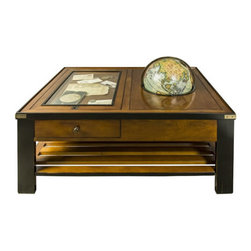 "Globe Table - The globe table measures 33 x 43.5 x 26.5"". The vaugondy globe shown on the table is included. It comes with a glass panel to display ephemera. It has two large drawers along with a book and magazine rack below. Lift the globe to reveal secret space for storage. Brass hardware."