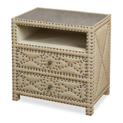 Kathy Kuo Home - Giacomo Hollywood Regency Tufted 2 Drawer Nightstand - A casual, natural linen bedside table doubles as extra storage with two deep drawers. Sturdy wood construction finished with antique brass and nail head trim are stylish and simple, while practical in any bedroom, study or sitting room.