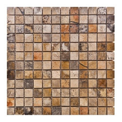 Scabos Tumbled Travertine Tiles - Our new Scabos Travertine materials have a highly dense texture with decorative contrast markings of rich yellow, black, turquoise and unique burgundy colors on a wavy beige background. This raw material is especially suited for brushed and distressed edge multi-size pattern sets, pavers and tumbled tiles & mosaics. Made from the highest quality premium Turkish scabos travertine strictly selected; consistent in color, sizing and finish. Suitable for commercial and residential projects. Interior as well as exterior surface covering applications.Meets your needs at a very low cost.