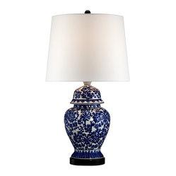 lamps plus asian blue and white porcelain temple jar table lamp. Black Bedroom Furniture Sets. Home Design Ideas