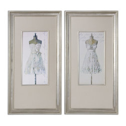 "Uttermost - Elegante And Très Jolie Linen Art, Set of 2 - Bring ""Project Runway"" right into your home with these elegant depictions of someone's vision of loveliness and fashion. Vote for your favorite and imagine who wore what on the red carpet."