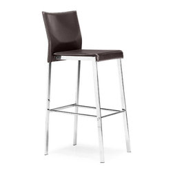 ZUO - Boxter Bar Chair - Espresso - Stylish and sturdy, the Boxter Chair features a regenerated leather seat, stitched back, and a solid steel chrome frame. Comes in dining, counter, and bar heights, sold separately. Choose espresso or black.