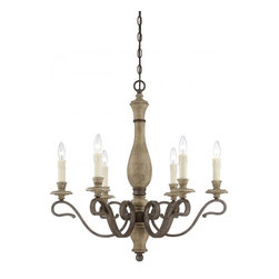 Joshua Marshal - Six Light Fossil Stone Candle Chandelier - Six Light Fossil Stone Candle Chandelier